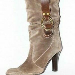 Coach Noreen Taupe Brown Slouch Suede Boots 9